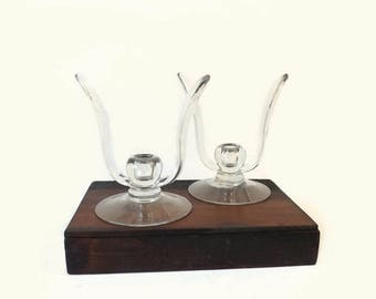Pair Cambridge Leaf Shape Candlesticks, Vintage Pristine Clear Glass Crystal Candle Holders
