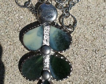 Necklace Byzantine silver shades of green