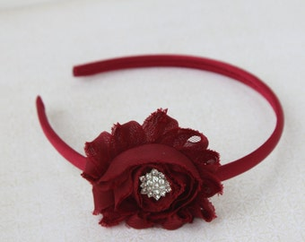 Dark red headband, burgundy headband, wine headband, dark red hair accessory, girls hard headband, toddler girls headband dark red flowers