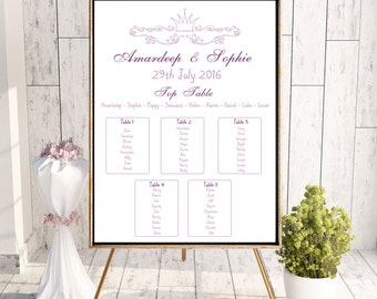 fairytale table plan, wedding table plan, seating plan, printable table plan, purple table plan, print your own wedding table plan.