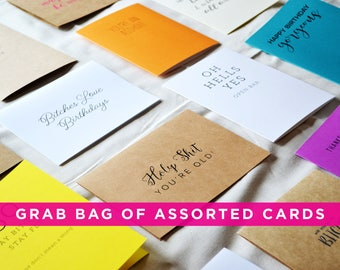 assorted cards - greeting cards - card - grab bag - grab bag of cards - mystery grab bag - stationery - invitations and paper
