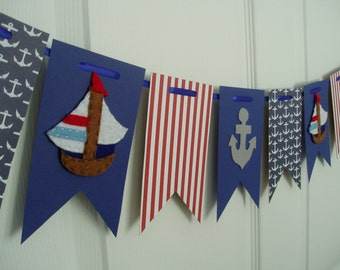 Nautical Sailboat Banner, Felt and Paper Sailboat Garland, Nautical Banner, Baby Shower Banner, Sailboat, Anchor Banner, Blue, Red, Gray