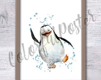 Penguins of Madagascar, Kid room, Funny animal art, Nursery, Cute animal, Baby shower, Comic Poster, Madagascar party, Boys room, Wall, V69