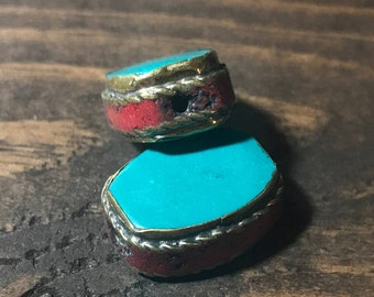 Large Nepalese Bead    Turquoise + Coral