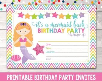 Instant Download Mermaid Birthday Party Invitation Girls Printable Invite