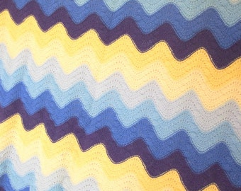 Vintage 1970's Handknit Chevron Afghan, Blue and Yellow Lap Blanket