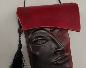 "Leather Purse ""Pursona"" Face Bag ""Sample Two-tone"" by Einbender Studios in black and deep red"