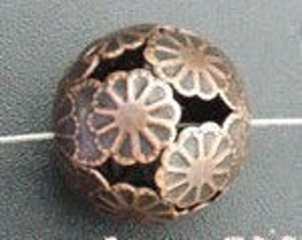 10 Copper Large Flower Round Ball Spacers 16mm /