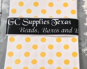 "5"" x 7.5""  Yellow Polka Dots on White Kraft Paper Merchandise Bags (20)"