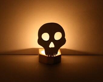 Halloween Candle Holder, Halloween Skull Candle Holder, Wooden Nightlight, Spooky White Halloween Decor