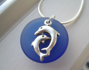 Dolphin Necklace - Dolphin Jewelry - Cobalt Blue Glass Necklace - Frosted Glass Jewelry - Royal Blue - Beach Wedding - Bridesmaid Gift Set