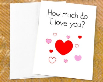 I love you card funny love cards hey i like you card birthday love card for daughter how much do i love you i love you card bookmarktalkfo Image collections