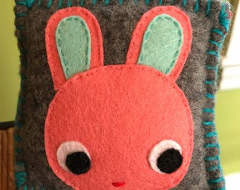 Felted Wool Bunny Tooth Fairy Pillow Toddler Preschool Baby Gift