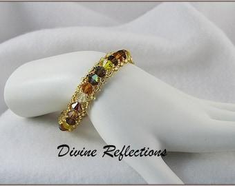 Crystal Bracelet, Earthtone Crystal Bracelet, Earthtone Tennis Bracelet