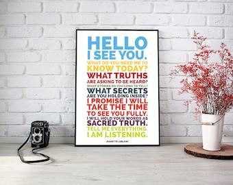 Tell Me Everything // Fine Art Print // Inspirational Art // Motivational Art // Typography // Jeanette LeBlanc