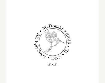 May Sale Custom Hummingbird Illustration Return Address Rubber Stamp 264