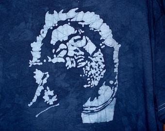 Jerry Garcia Handmade Batik T-shirt with lightning bolt on the back