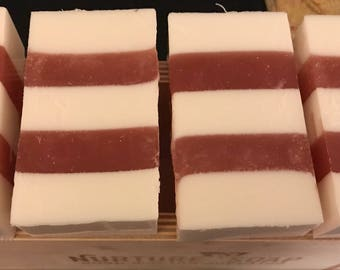 Soapy Candy Cane Peppermint Soap - Cowtail Soap Bar