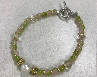 Freshwater Pearl Green and Pink Bracelet