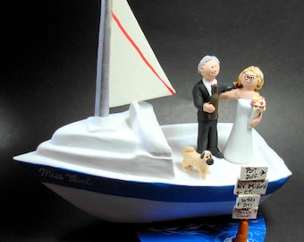 SailBoat Bride and Groom Wedding Cake Topper, Custom Yachting Wedding Cake Topper - Sailor's Wedding Cake Topper- Boat Wedding Cake Topper