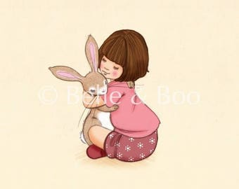 Girl and Bunny hug, belle & Boo birthday Hug art print