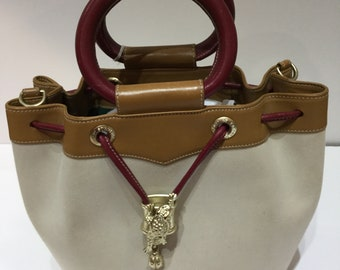 Vintage Keiselstien-Cord canvas and leather hand bag