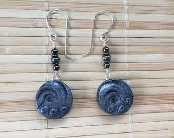 Beachcomber Faux Stone Beaded Dangle Earrings Black Silver - Handmade Clay Jewelry for Women Nature Inspired Gift for Mom Teacher Wife