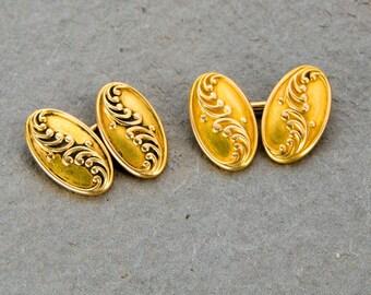 14k yellow gold signed Carter Gough Co cufflinks