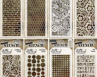 Tim Holtz Stencil Bundle - Eight Different Full-Sized Stencils
