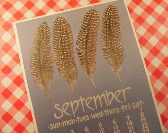 Nikki Schumann September Calendar Poster - Feather Art Work - 1980s - Fall Print