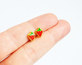 Strawberry Earrings, Fruit Earrings, Juicy Studs, Handmade Earrings, Enamel Studs Kawaii Posts Hipster Trendy Miniature Posts, Gifts for Her