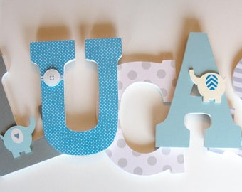 Blue and Grey Nursery Wooden Letters, Elephant Theme, Boy Bedroom
