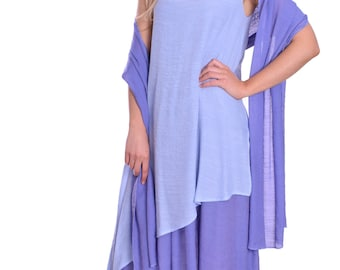Loose Fit Summer Maxi Maternity Dress with Scarf Super Light and Breezy Shades of Lavender