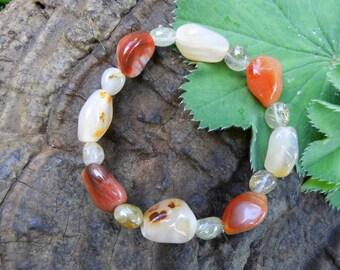 Jewels, bracelet, power bracelet, Carnelian, rutile quartz, Reiki, Waldorf,
