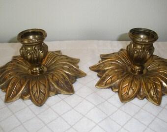 Brass Leaf Candlestick Holders - Gold Gilt Ornate Leaves Design - Hollywood Regency - Set of 2