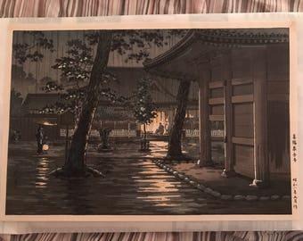 Japanese woodcut print - Sengakuji Temple at Takanawa in Tokyo by Tsuchiya Koitsu