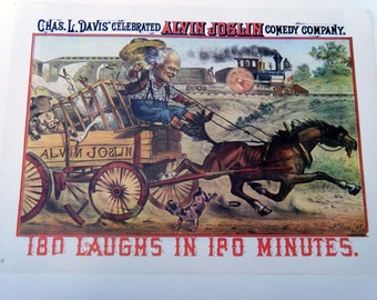 Vintage Advertising Comedy Show Wagon Train Racing a Train Poster Size Book Plate