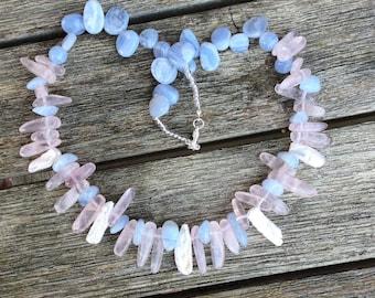 SPECIAL JUNE OFFER!  Rose quartz, Blue Chalcedony and Biwa Pearl Gem Spike Bib Necklace