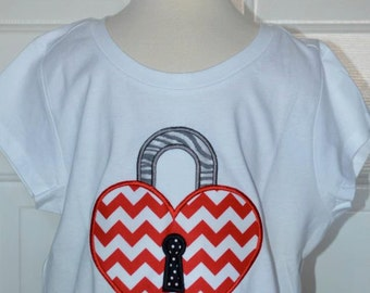 Personalized Valentine's Lock Heart  Applique Shirt or Bodysuit Girl or Boy