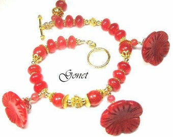 Ruby Red Jade Bracelet   Morning Glory   by Gonet Jewelry Design