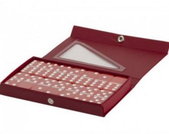 Red Double 6 Standard Size Dominoes in Vinyl Case