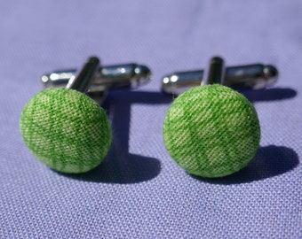 Stripy Green Silver Plated Cufflinks
