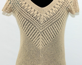 Tan Loose Knit Crocheted Cotton Top  by Micheal Kors. Fall top, unique top, pretty top, versatile top.