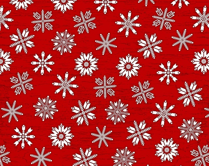 CHRISTMAS FABRIC, Holiday Flannel Fabric, Frosty Folks Red/White Snowflakes by Jan Shade Beach Collection
