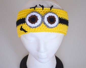 Minion Headband, earwarmer, Despicable Me, Yellow, Crochet By Allie