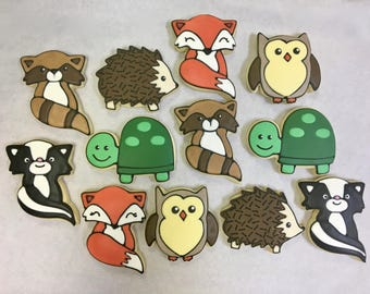 Woodland Animal Party Favor Cookies for Birthdays, Baby Shower Cookie Favors, Woodland Theme Cookies, Woodland Animal Cookies for Any Reason