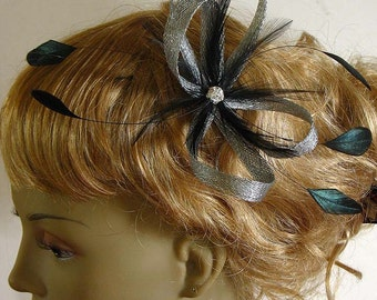 Bridal silver sinamay bridal fascinator -  bridesmaids and mother of the bride hair clip