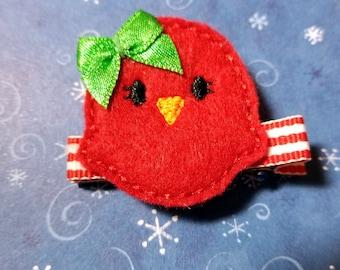 Christmas Chick Felt Hairbow  Clippie  - For Infant Toddler Girl