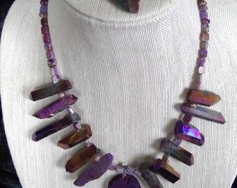 Purple iridescent rock crystal quartz necklace and earring set.