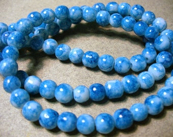 Jade Glass Beads Blue Round 6MM